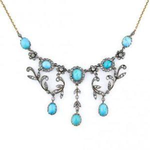 ResizedImage307307 CVictorian Turquoise Diamond Necklace