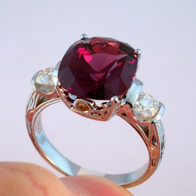 Cherry Garnet Three Stone Ring