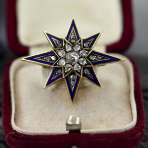 1870s Victorian Star Pin Pendant with Diamonds and Enamel 1