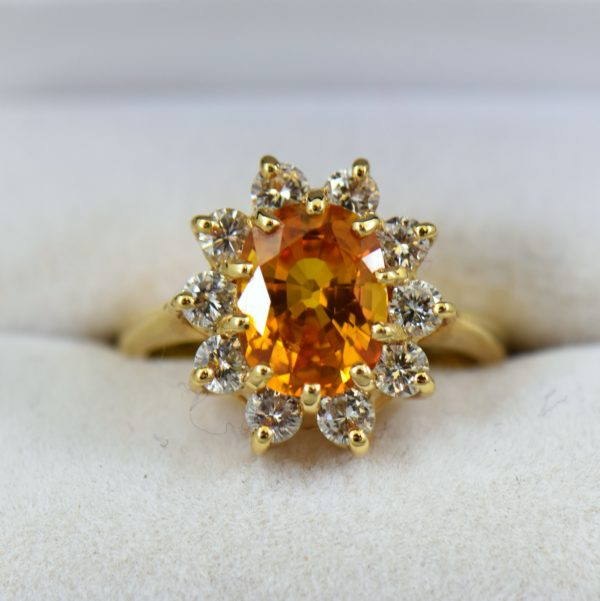 3ct Golden Sapphire and Diamond Diana style Ring 1