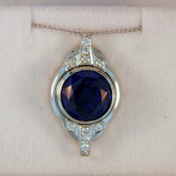 9.88ct Round Gem Tanzanite Pendant made from a Deco Watch Case 1