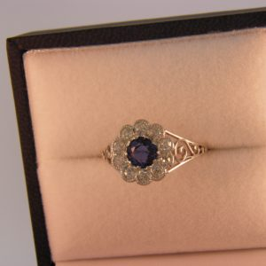 Antique Sapphire and Diamond Halo Ring 1