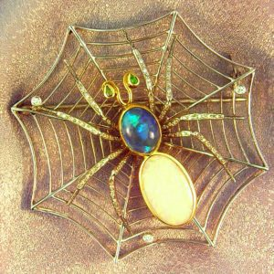 Aragog  Deco Spider Brooch in Platinum and 18kY with Opals Diamonds and Demantoid 1