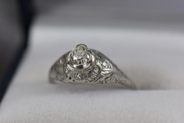 Art Deco Die Struck Filigree Engagement Ring with 1