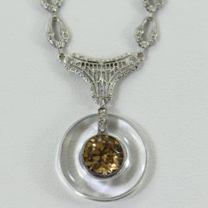 Art Deco Filigree Necklace with Rock Crystal Brown Zircon and Diamonds c.1925 1 1