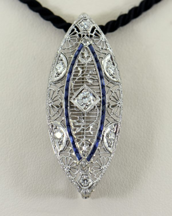 Art Deco Navette Pin Pendant with Calibre Sapphires and Diamonds 1