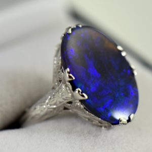 Art Deco Ring with Peacock hued Black Opal 1