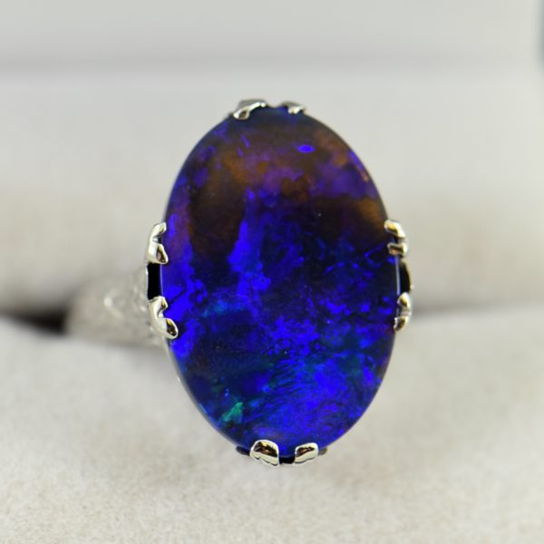 Art Deco Ring with Peacock hued Black Opal 2 1