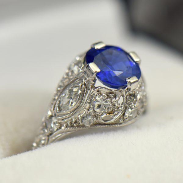 Art Deco Untreated Sapphire Ring in Platinum 2 1 1