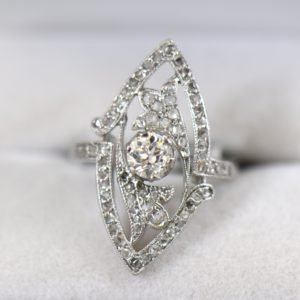 Art Nouveau Platinum Navette Ring with Rose and Mine Cut Diamonds 1