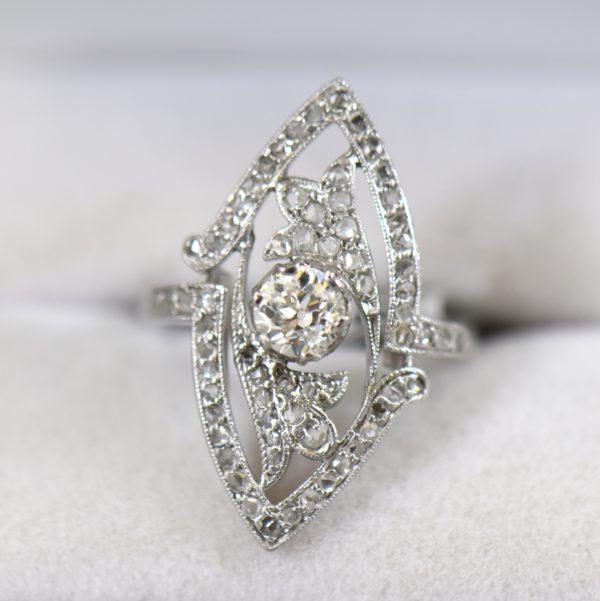 Art Nouveau Platinum Navette Ring with Rose and Mine Cut Diamonds 1