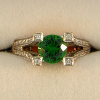 Artistic Tsavorite Garnet Ring