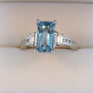 Baguette Cut Aquamarine Ring