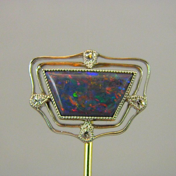 Brandon s Opal   Diamond Platinum Stickpin Tiffany c1920 1