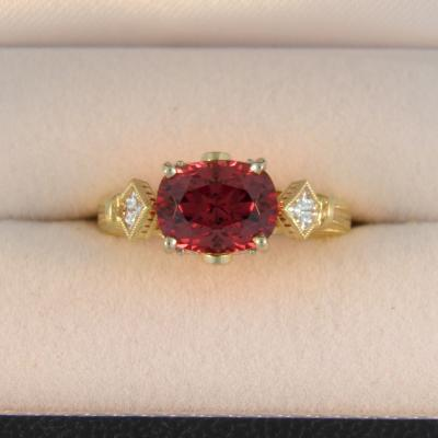 Cherry Garnet East West Ring