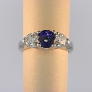 Color Change Sapphire Three Stone Ring