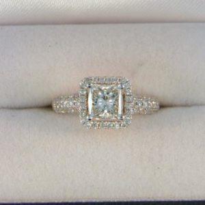 CroppedImage400400 1.00ct SI H Princess Diam Halo Ring