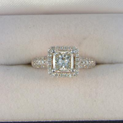 CroppedImage400400 1.00ct SI H Princess Diam Halo Ring