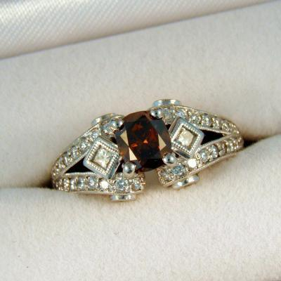 CroppedImage400400 1.0ct cush choc diamond ring