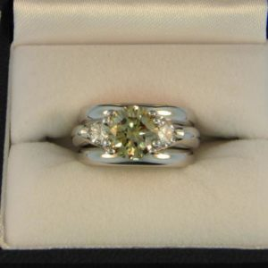 CroppedImage400400 2.2ct champagne diamond wedding set