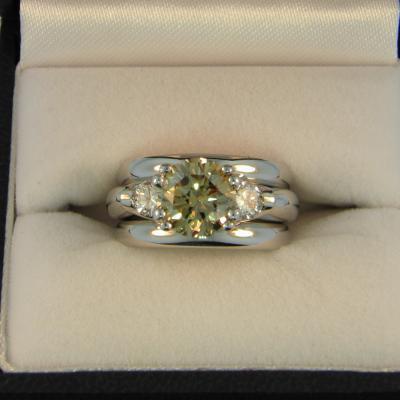 CroppedImage400400 2.2ct champagne diamond wedding set