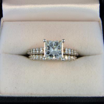 CroppedImage400400 Princess Moissanite Wedding Set