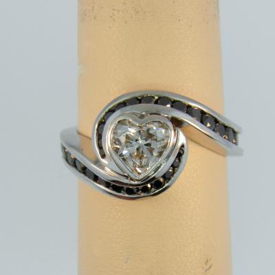 4c9b9511e0 Custom Heart Shape Black & White Diamond Ring - Federal Way Custom ...