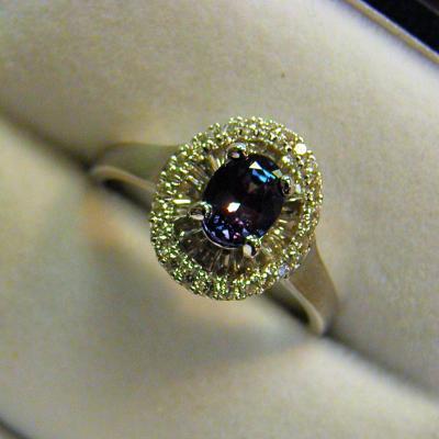 e4185774f4eea Alexandrite & Diamond Halo Ring- Ballerina Style - Federal Way ...