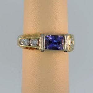 Cushion Sapphire Mens Ring
