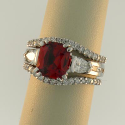 Custom Spinel Ring With Bands