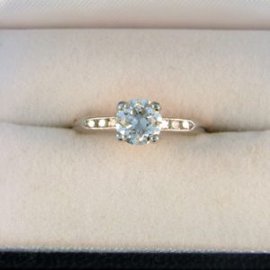 Deco .90ct Old European Cut Diamond Ring in Platinum 1