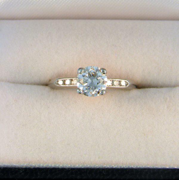 Deco .90ct Old European Cut Diamond Ring in Platinum 1