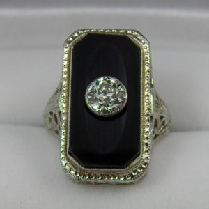 Deco Onyx Ring with .50ct Diamond 1