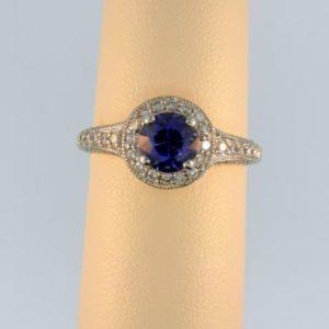 Diamond Cut Sapphire Ring