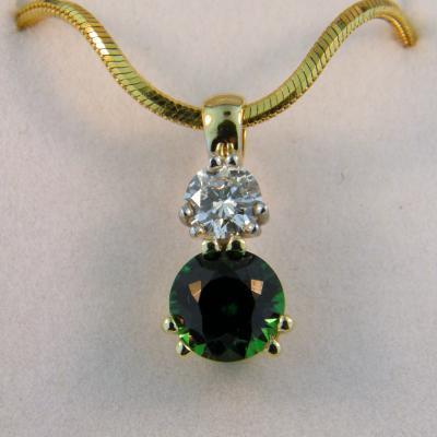 Diamond and Tsavorite Pendant
