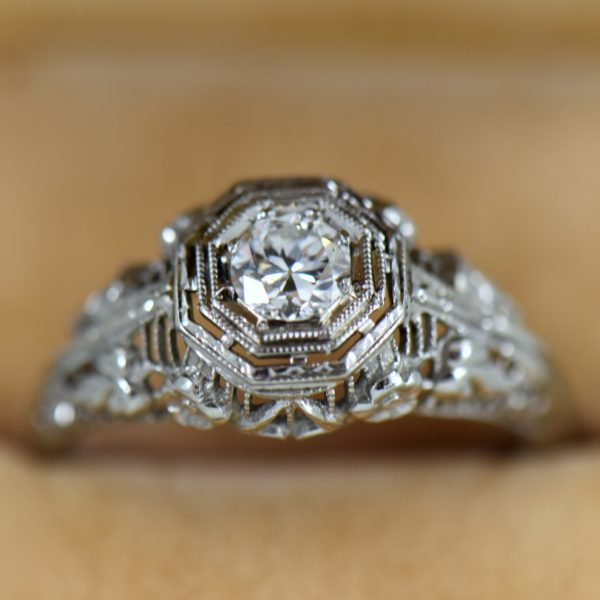 Die Struck Octagonal Deco Ring with Old Euro Diamond 1