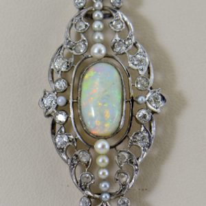 Early Deco Platinum Opal Diamond   Pearl Pin Conversion 1