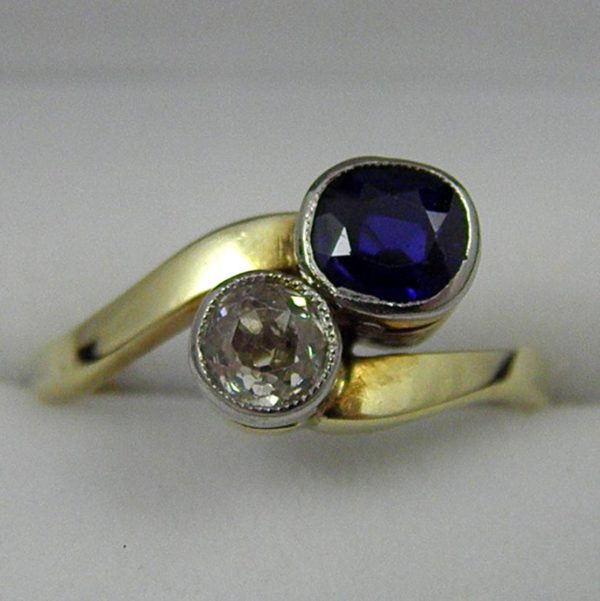 Edwardian 18k and Plat ring with Mine Cut Diamond and Sapphire French 1