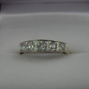 Edwardian 5 Stone Diamond Band Platinum over Gold 1