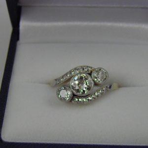 Edwardian Diamond Three Stone Ring Platinum over Gold 1ctw 1