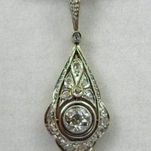 Edwardian Platinum over Gold Filigree Diamond Pendant 1