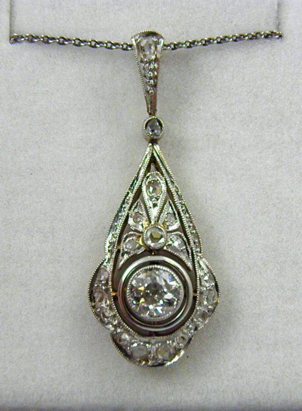 Edwardian Platinum over Gold Filigree Diamond Pendant 1
