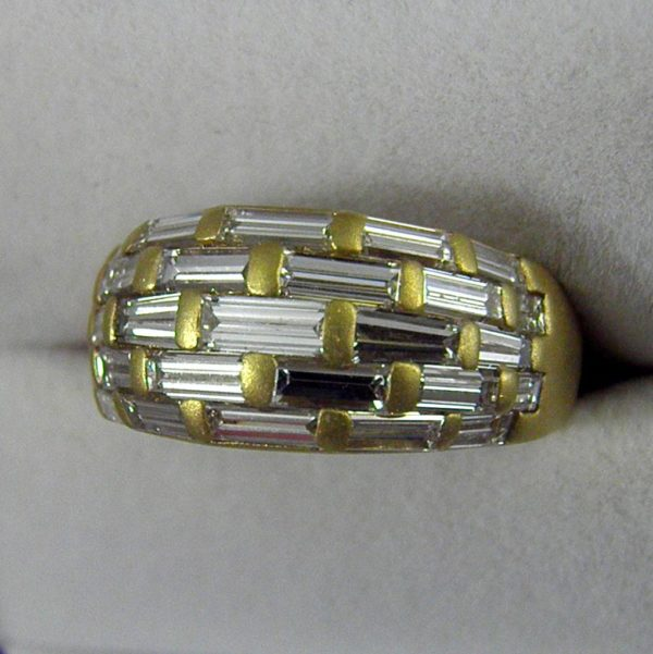 Estate 14k Yellow Gold Domed Band with 5ctw Baguette Diamonds 1
