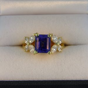 Estate 18k Ring with Emerald Cut Tanzanite 1