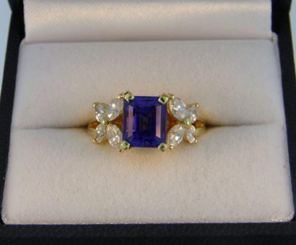 Estate 18k Ring with Emerald Cut Tanzanite 1