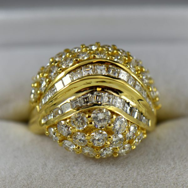 Estate 18k Yellow Gold Bombe Ring with 5ctw Diamonds 1