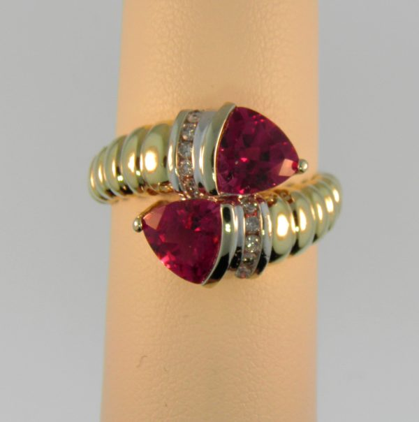 Estate Bypass Ring with Rubellite Tourmalines 1