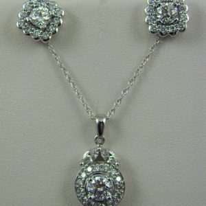 Estate Diamond Pendant and Earring Set 1