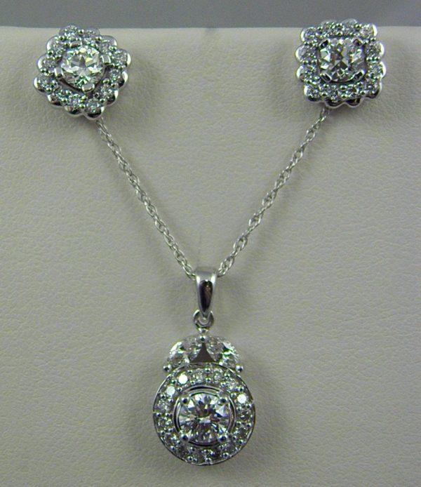 Estate Diamond Pendant and Earring Set 1