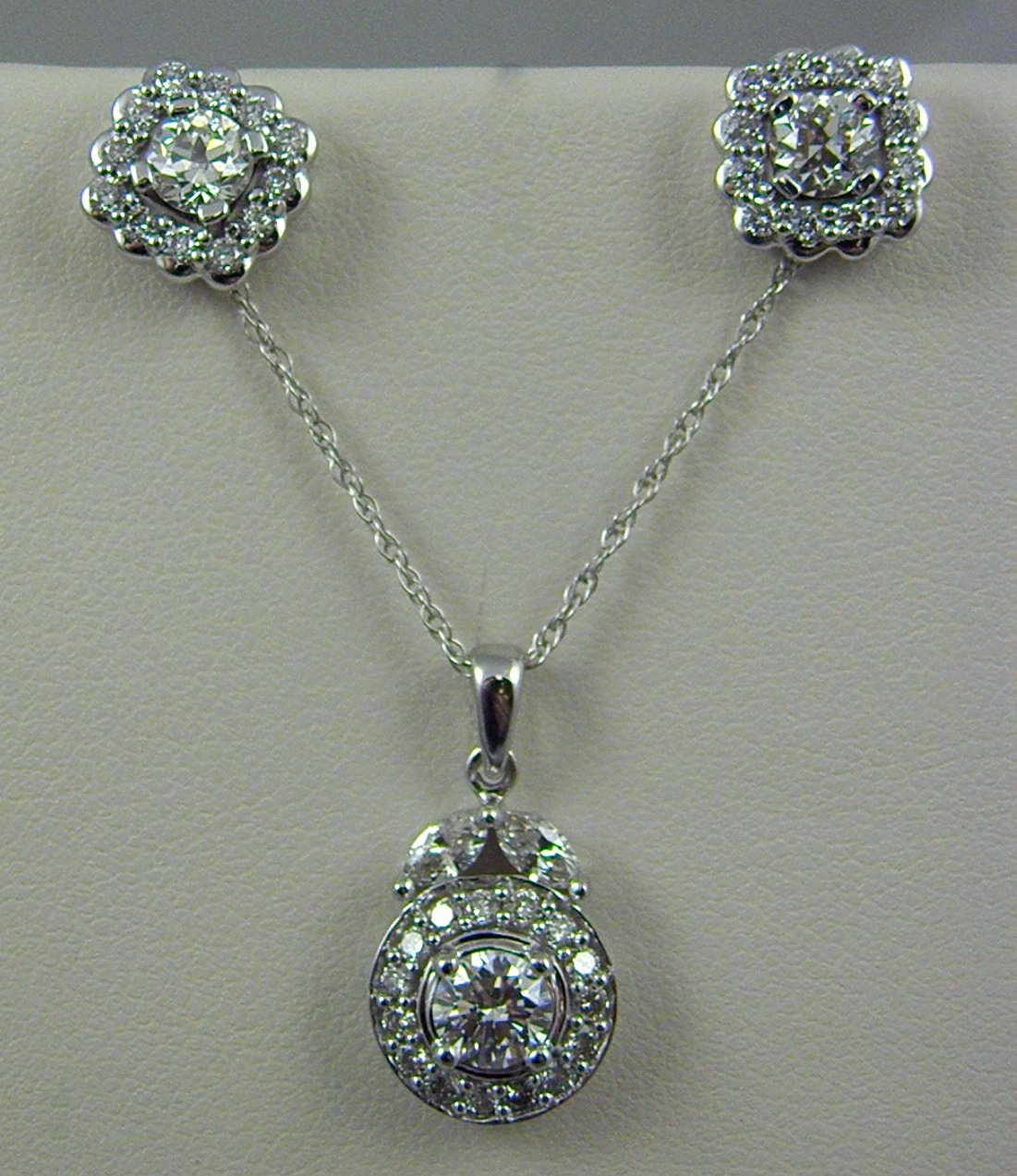 Estate Diamond Pendant and Earring Set - Federal Way Custom